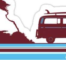 'Longboard' Surf Retro Design in Maroon & Aqua Sticker