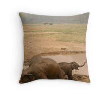 Happy as an Elephant in mud Throw Pillow