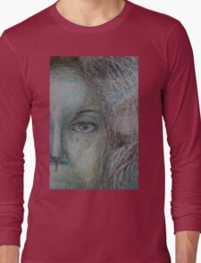 Faces - Right - Portrait In Black And White Long Sleeve T-Shirt