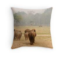 Elephant landscape Throw Pillow