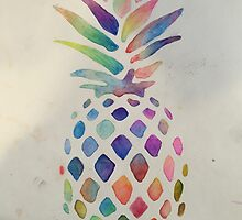 Watercolor pineapple by jtfrombroooklyn