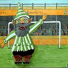 417 - FOOTBALLING GNOME - DAVE EDWARDS - COLOURED PENCILS - 2015 by BLYTHART