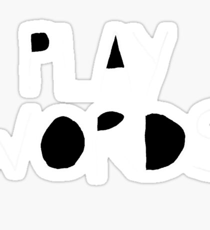 Play On Words(white on colour with black shapes inside the letters) Sticker
