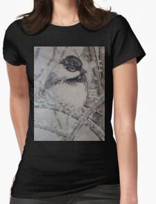 Trip-O-Vision Online Gallery Design 43: Winter Bird Painting Womens Fitted T-Shirt