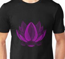 Puprle yoga lotus flower Unisex T-Shirt