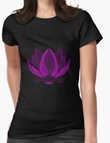 Puprle yoga lotus flower Womens Fitted T-Shirt