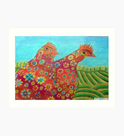 395 - FLORAL HENS - DAVE EDWARDS - COLOURED PENCILS - 2013 Art Print