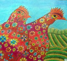 395 - FLORAL HENS - DAVE EDWARDS - COLOURED PENCILS - 2013 by BLYTHART
