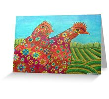 395 - FLORAL HENS - DAVE EDWARDS - COLOURED PENCILS - 2013 Greeting Card