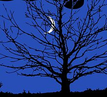 Moon with Tree, Cobalt Blue, Black and White by Marymarice