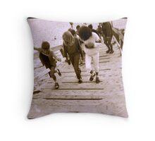 Kids on French Beach Throw Pillow