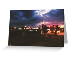 Pizza Time during a storm Greeting Card