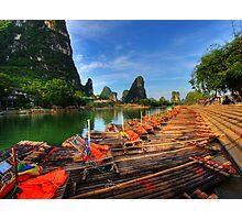 Bamboo Rafts on the Li-River Photographic Print