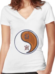 Libra & Tiger Yang Wood Women's Fitted V-Neck T-Shirt