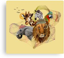 Fashionable Zoo Animals Canvas Print