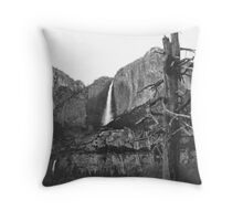 Upper & Lower Yosemite Falls (Black & White) Throw Pillow