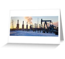 Pump jack and grangemouth refinery. Greeting Card