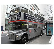 Silver London Bus Poster
