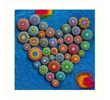 Mandala Stone Heart Art Print