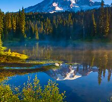 Rainier Sunrise from Reflection Lakes by RavenFalls