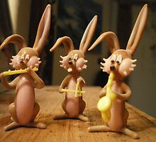 Rabbit musicians by Alice Oates