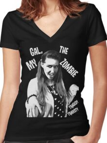 My Gal, the Zombie- Horror Host Punk Women's Fitted V-Neck T-Shirt