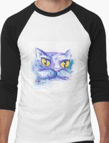 Blue Impressionism Watercolor Cat  Men's Baseball ¾ T-Shirt