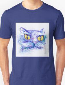 Blue Impressionism Watercolor Cat  Unisex T-Shirt