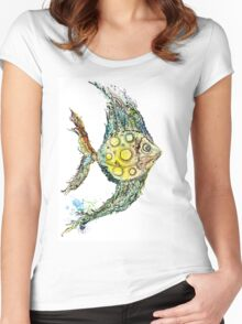 Watercolor fish illustration Women's Fitted Scoop T-Shirt