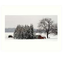 Winter farm scene Art Print