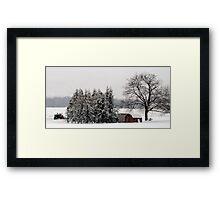 Winter farm scene Framed Print