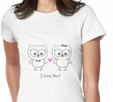 cute owls in love Womens Fitted T-Shirt
