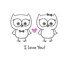 cute owls in love by redcollegiya