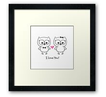 cute owls in love Framed Print