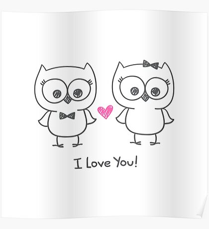 cute owls in love Poster