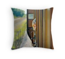 Train child portrait Throw Pillow