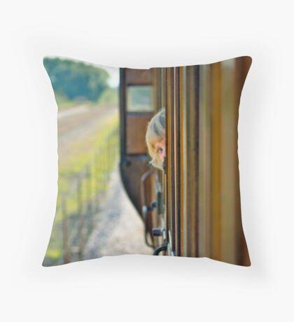 Train child portrait Throw Pillow