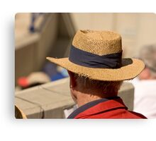 Hat Series - Man Wearing A Frayed Straw Hat Canvas Print