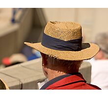Hat Series - Man Wearing A Frayed Straw Hat Photographic Print