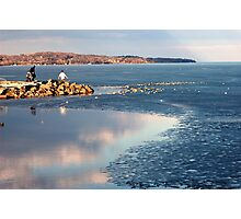 Melting Ice on the Lake, Barrie, Ontario Photographic Print