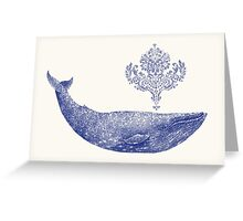 Damask Whale  Greeting Card