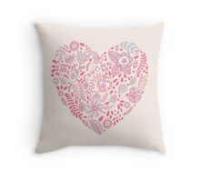 Heart shaped love vector cute pattern Throw Pillow