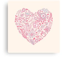 Heart shaped love vector cute pattern Canvas Print