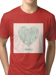 Heart shaped spring love vector cute pattern Tri-blend T-Shirt