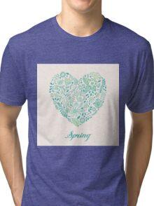 Heart shaped spring love vector cute pattern Tri-blend T-Shirt