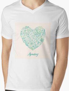 Heart shaped spring love vector cute pattern Mens V-Neck T-Shirt
