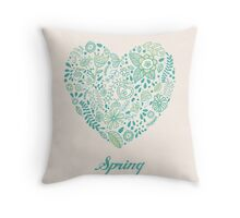 Heart shaped spring love vector cute pattern Throw Pillow