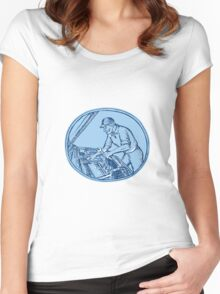 Auto Mechanic Automobile Car Repair Etching Women's Fitted Scoop T-Shirt