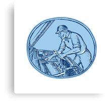 Auto Mechanic Automobile Car Repair Etching Canvas Print