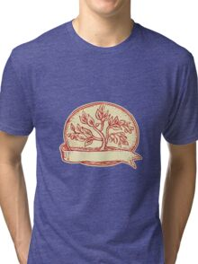 Olive Tree Ribbon Oval Etching Tri-blend T-Shirt
